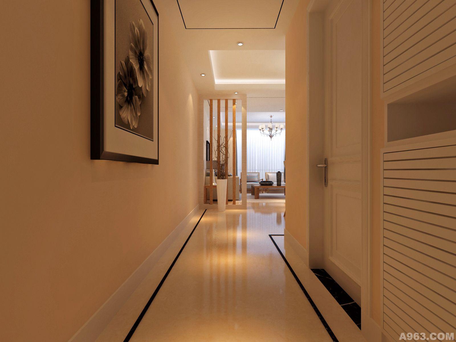 节省走廊空间,入户入眼处的玄关采用和家具类似的木纹线条配合理石