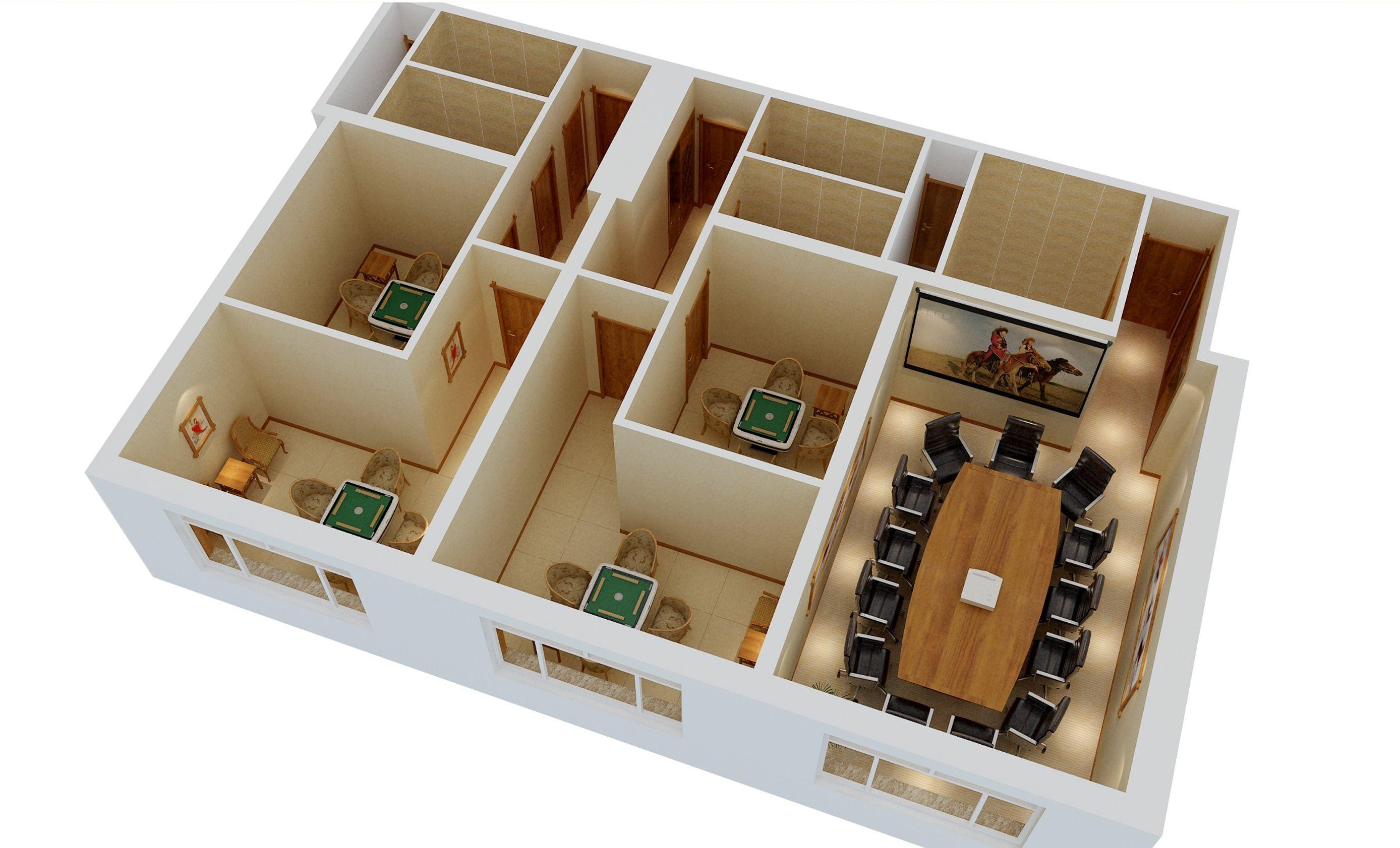 棋牌室会议室透视图二